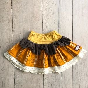 Persnickety Gold Skirt with Brown   & Eyelet Lace